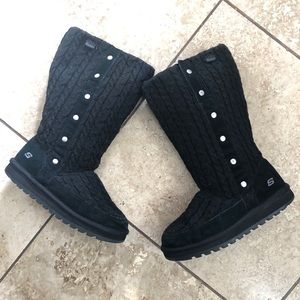 Sketchers cable knit fleece lined winter boots